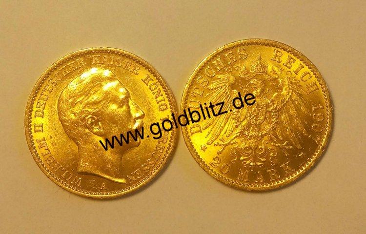 Goldmünze 20 Goldmark Wilhelm Ii Goldmark20 29995 Goldblitz